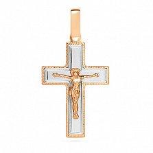 Золотой крестик Символ веры в комбинированном цвете с насечкой