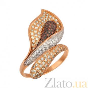 Кольцо из красного золота Камелия с фианитами VLT--ТТ1021-2