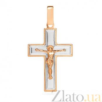 Золотой крестик Символ веры в комбинированном цвете с насечкой SUF--541131нш