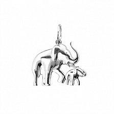 Серебряная подвеска Семья слоников
