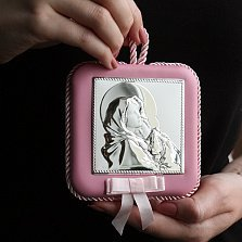 Посеребрённая детская икона Богородица с дитям для девочек