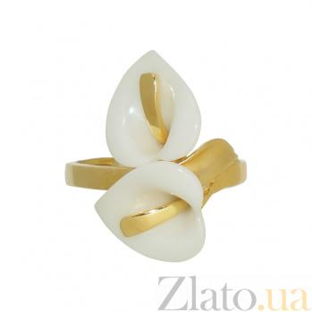 Золотое кольцо с керамикой Лунет 2К764-0019
