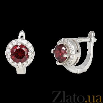 Серьги из серебра Ривьера с красными и белыми фианитами SLX--СК2ФГ/437А
