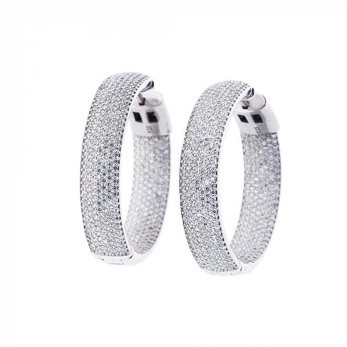 Серебряные серьги-кольца Поликсена с фианитами 000080219