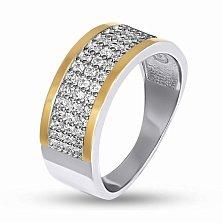 Серебряное кольцо Каролина с золотыми накладками и фианитами
