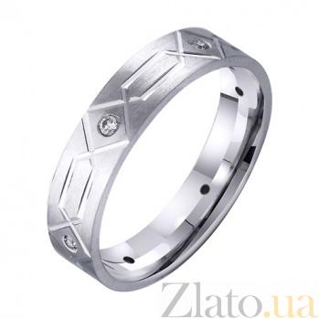 Обручальное кольцо из белого золота Истинные чувства с фианитами TRF--4221135