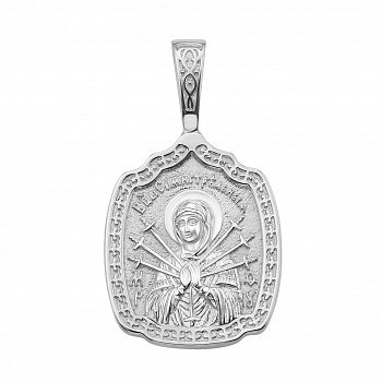 Серебряная ладанка Семистрельная Божья Матерь с молитвой 000134363