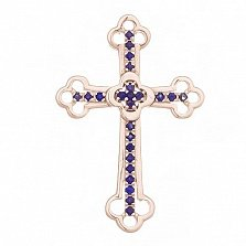 Крестик в красном золоте Поклонение с сапфиром