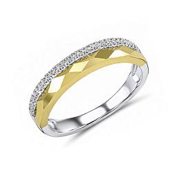 Обручальное кольцо Марсела из белого и желтого золота с бриллиантами