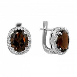 Серебряные серьги с раухтопазом и фианитами 000081879
