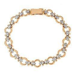 Золотой браслет в комбинированном цвете с белым цирконием 000096644