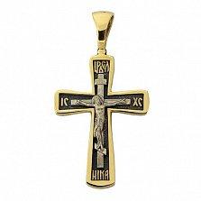 Серебряный крестик в позолоте с чернением Возрождение