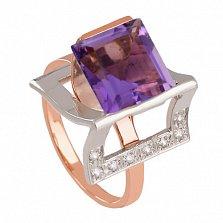 Золотое кольцо с аметистом и фианитами Эпатаж