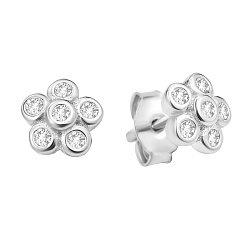 Серебряные серьги-пуссеты с цирконием 000106875