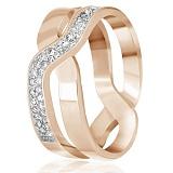 Позолоченное кольцо из серебра Вивьен с фианитами