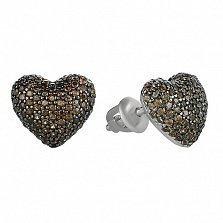 Серебряные серьги-пуссеты Блестящее сердечко с коньячным цирконием
