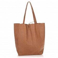 Кожаная сумка на каждый день Genuine Leather 8040 кофейного цвета на завязках