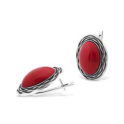 Серебряные серьги Марсела с красным кораллом 000069267