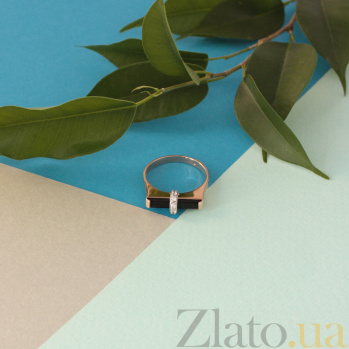Золотое кольцо с агатом и фианитами Мосты любви 000024534
