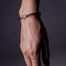 Кожаный браслет с серебром Leaf Black с чернением