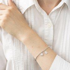 Серебряный браслет Две звезды с подвесками и белыми фианитами