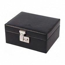 Черная кожаная шкатулка для часов WindRose Beluga на 8 отделений