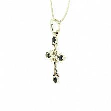 Золотой декоративный крест в белом цвете с бриллиантами и сапфирами Рим