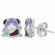 Серебряные серьги-пуссеты Собачка с цветной эмалью