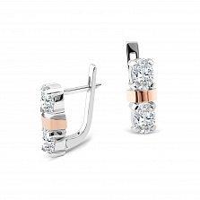 Серебряные серьги Флавия с золотыми накладками и фианитами