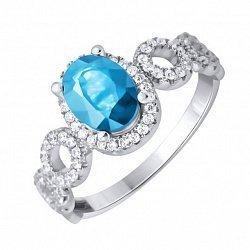 Серебряное кольцо с голубым топазом и фианитами 000133466