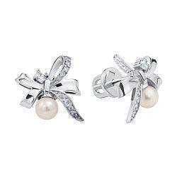 Серебряные серьги-пуссеты с жемчугом и фианитами 000098802