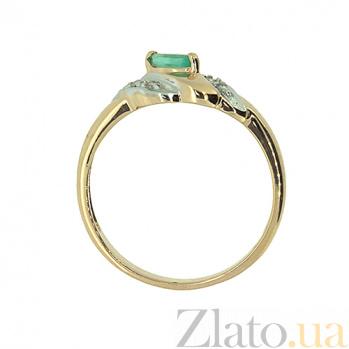 Золотое кольцо в красном цвете с изумрудом и бриллиантами Дейфилия ZMX--RE-9006_K