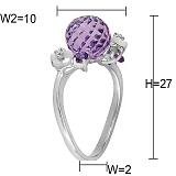 Золотое кольцо с аметистами, топазами, перламутром и бриллиантами Фиолет