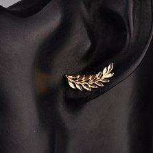 Золотые серьги-каффа Пальмовая ветка в красном цвете
