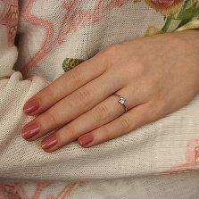 Серебряное асимметричное кольцо Элизия с фианитом