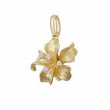 Кулон из желтого золота Лилия с бриллиантами