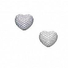 Серебряные серьги Сияние сердец в усыпке фианитов с объемной ажурной застежкой