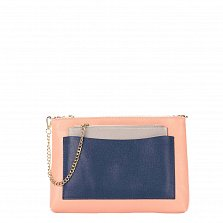 Кожаный клатч Genuine Leather 7808 розового цвета с синим накладным карманом и цепочкой