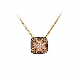 Колье из красного золота Звезда эльфов с коньячными и белыми бриллиантами