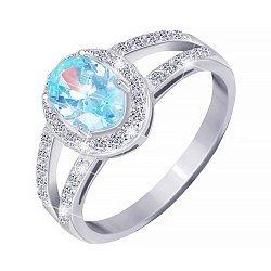 Серебряное кольцо с голубым и прозрачными фианитами 000025462