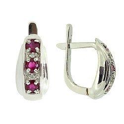 Серебряные серьги с бриллиантами и рубинами 000022313