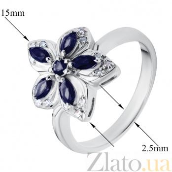 Серебряное кольцо с бриллиантами и сапфирами Прага ZMX--RDS-6142-Ag_K