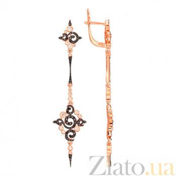Удлиненные серьги из красного золота с цирконием Кассиопея VLT--ТТТ2279-2