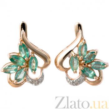 Золотые серьги с бриллиантами и изумрудами Эмма ZMX--EE-5005_K