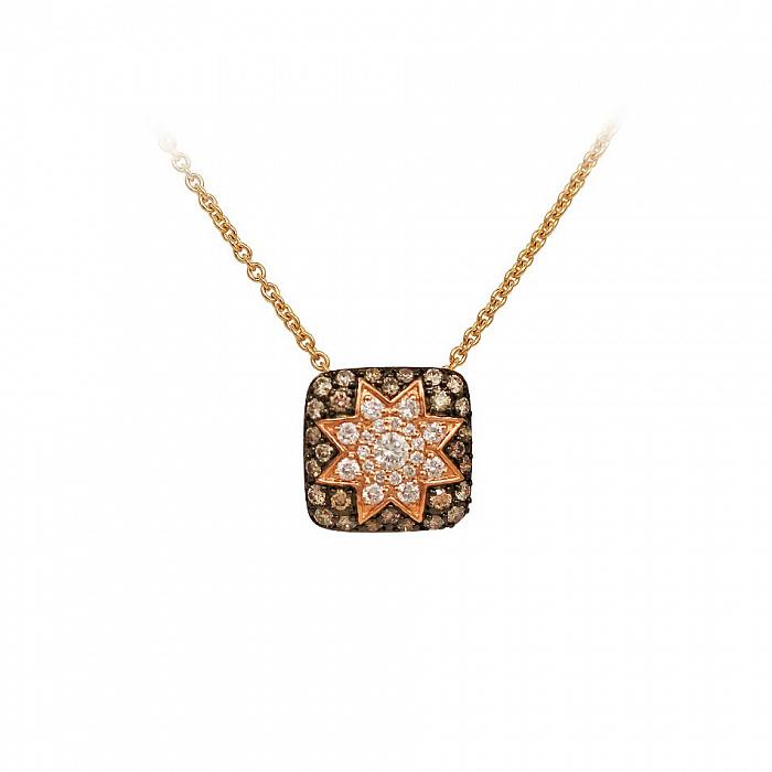 Колье из красного золота Звезда эльфов с коньячными и белыми бриллиантами 000081283