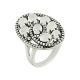 Серебряное кольцо с лунным камнем и фианитами Кароль