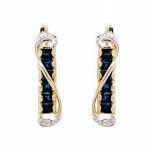 Золотые серьги с бриллиантами и сапфирами Амина