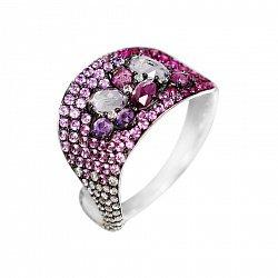 Кольцо из белого золота Микаэлла с бриллиантами, гранатом, аметистом и розовым сапфиром 000080902