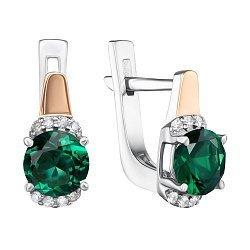 Серебряные серьги с золотой вставкой, зеленым кварцем и фианитами 000134809