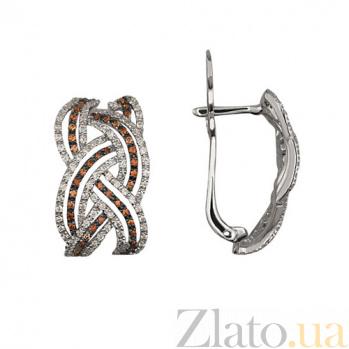 Серьги из белого золота с коньячным и белым цирконием Вивьен VLT--ТТТ2226